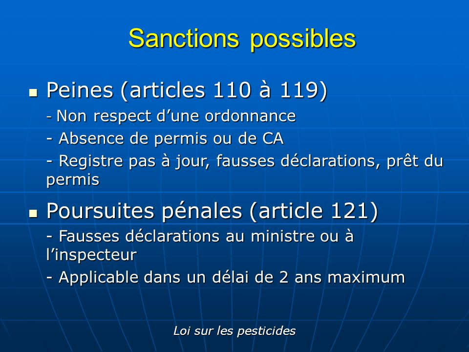 Sanctions possibles Peines (articles 110 à 119)