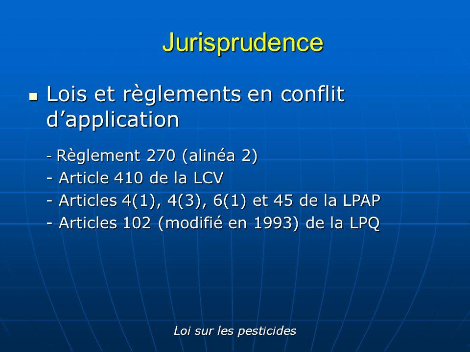 Jurisprudence Lois et règlements en conflit d'application