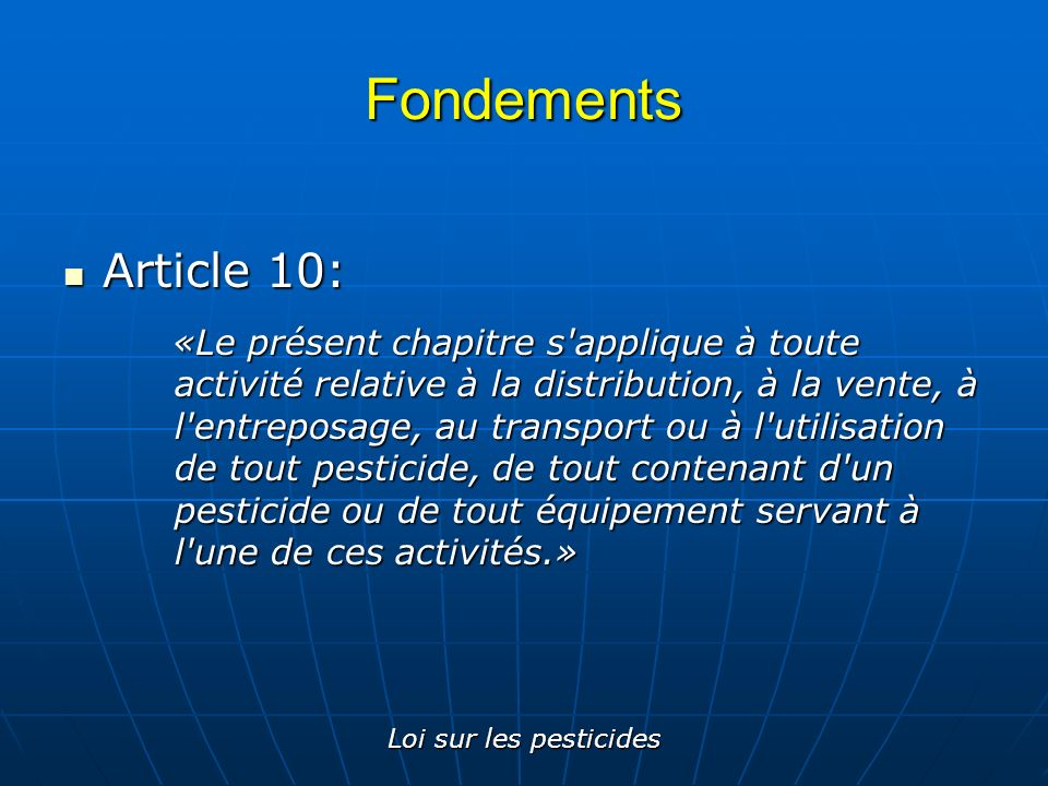 Fondements Article 10: