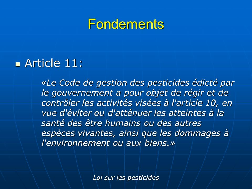 Fondements Article 11: