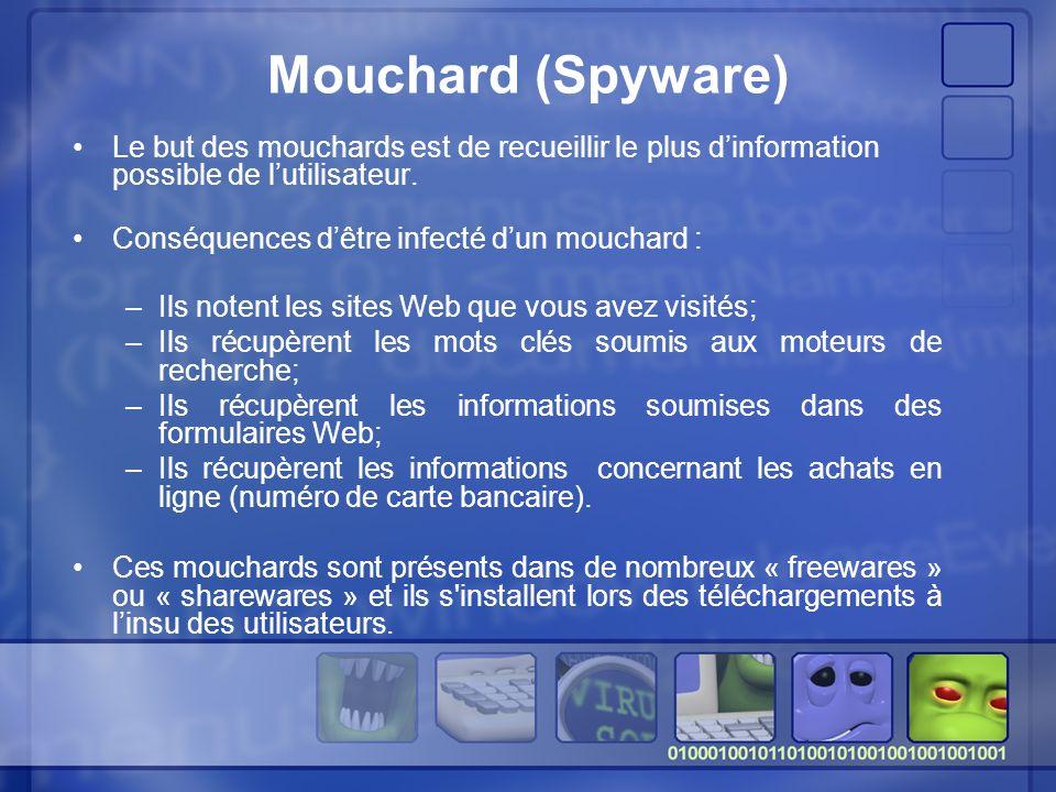 Mouchard (Spyware) Le but des mouchards est de recueillir le plus d'information possible de l'utilisateur.