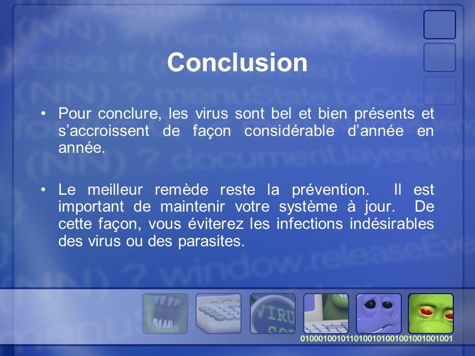 Conclusion Pour conclure, les virus sont bel et bien présents et s'accroissent de façon considérable d'année en année.