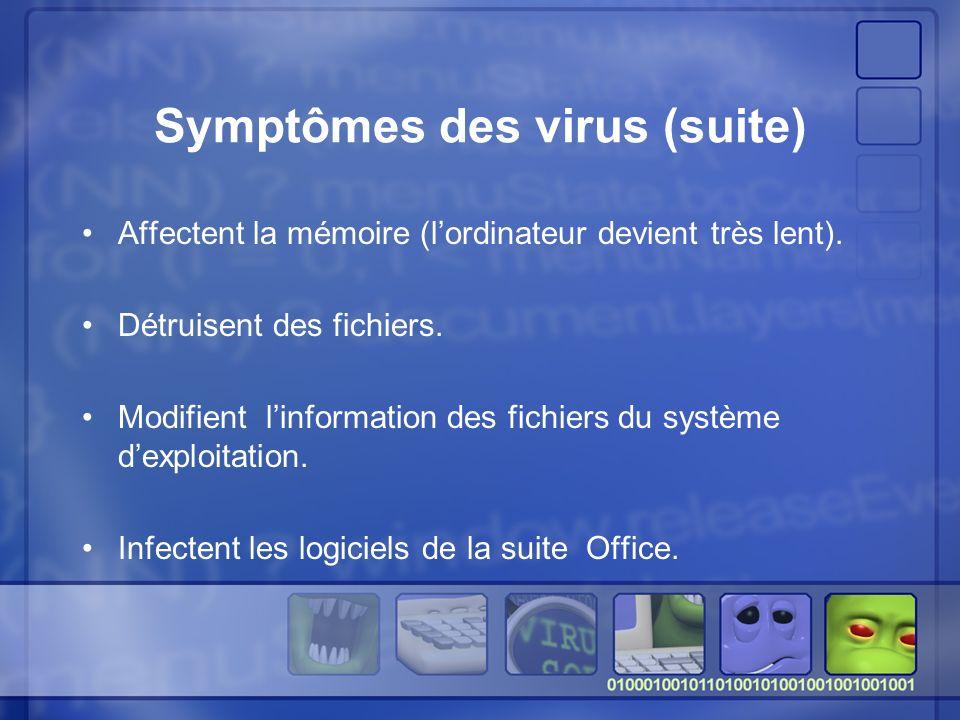 Symptômes des virus (suite)