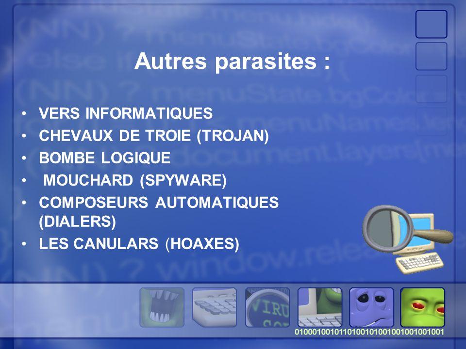 Autres parasites : VERS INFORMATIQUES CHEVAUX DE TROIE (TROJAN)