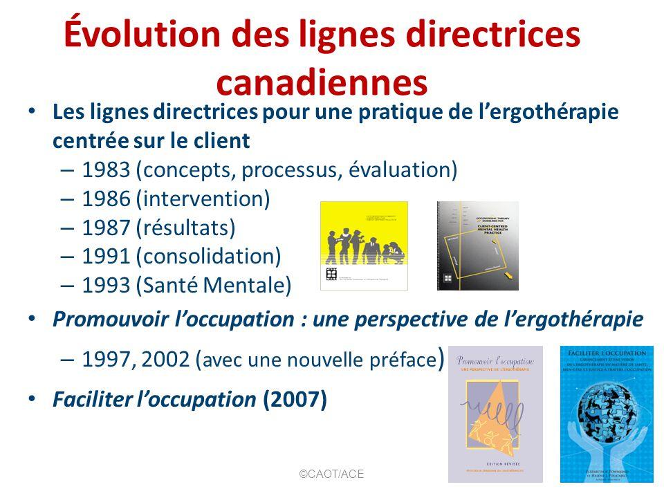 Évolution des lignes directrices canadiennes