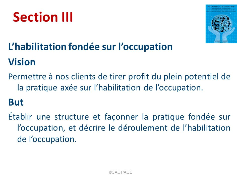 Section III L'habilitation fondée sur l'occupation Vision But