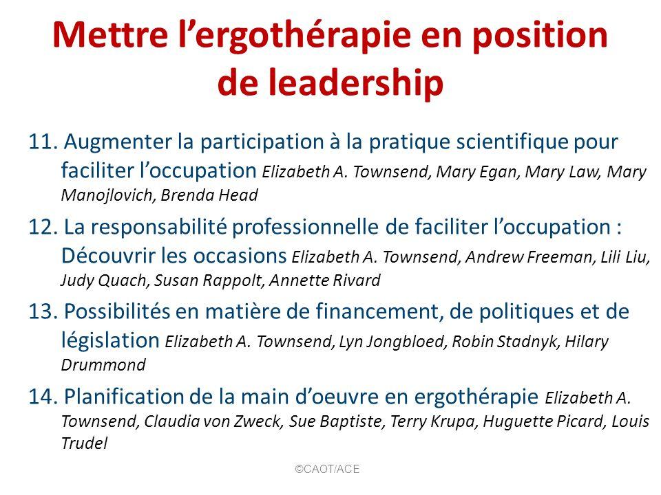 Mettre l'ergothérapie en position de leadership