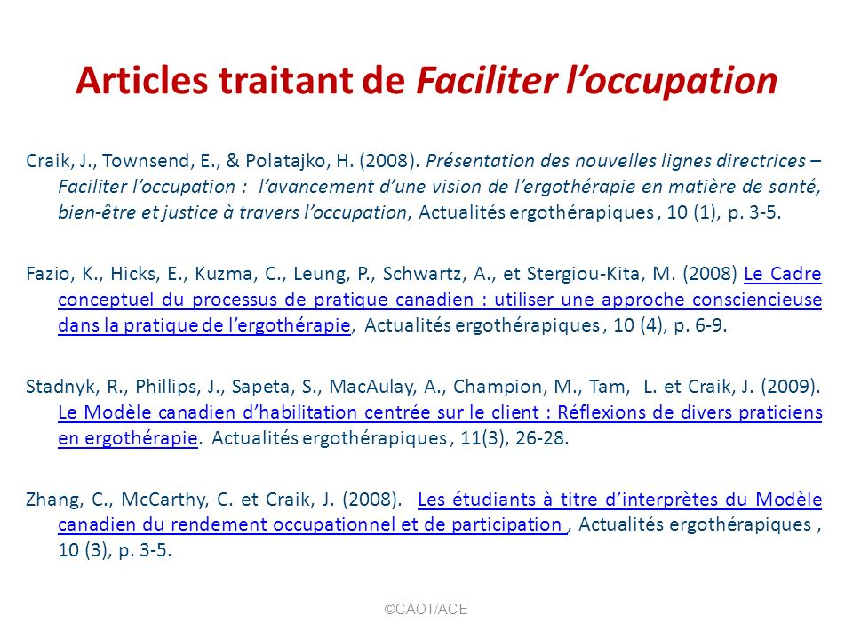 Articles traitant de Faciliter l'occupation
