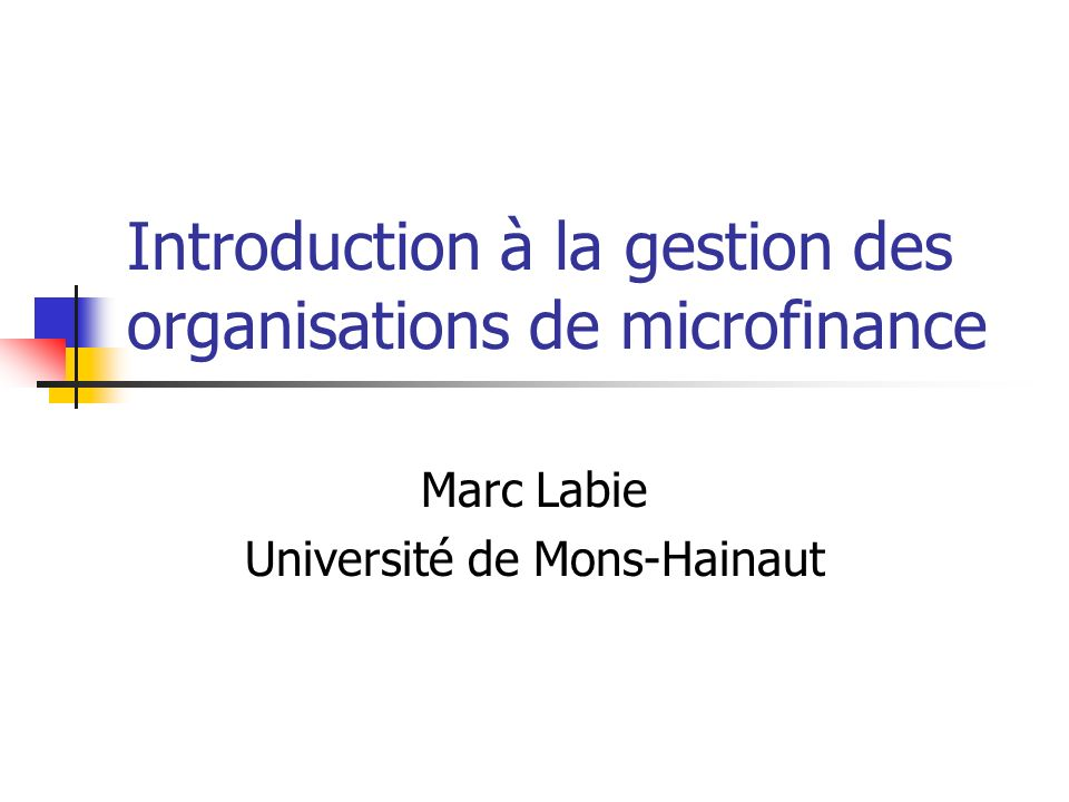 Introduction à la gestion des organisations de microfinance