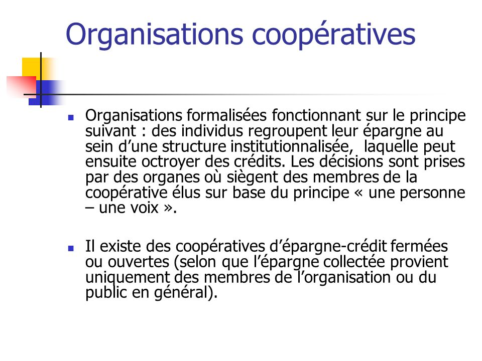 Organisations coopératives