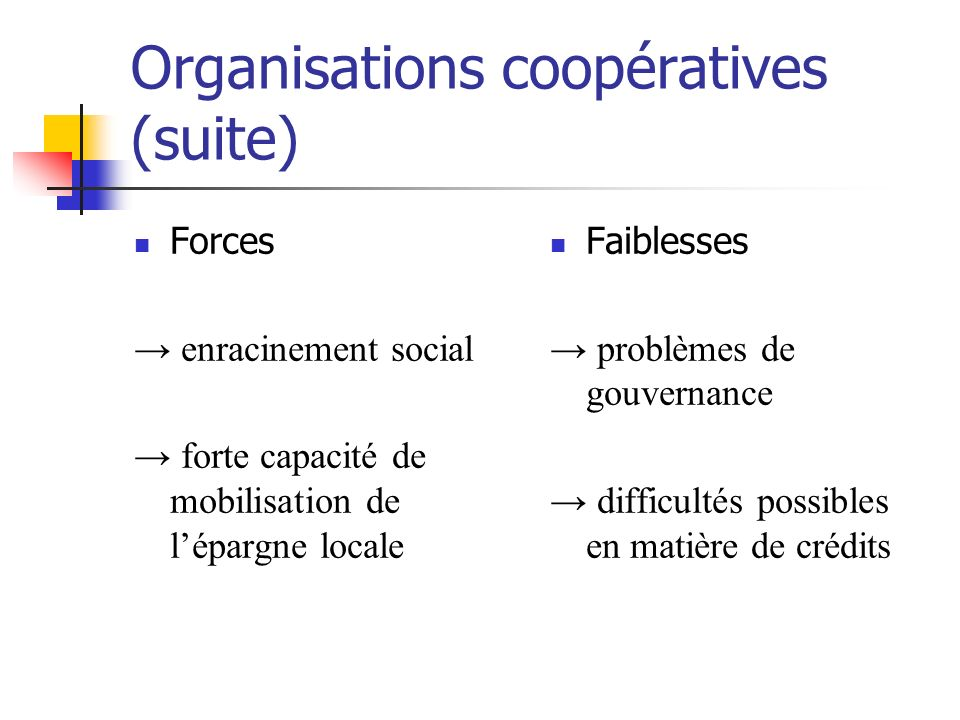Organisations coopératives (suite)