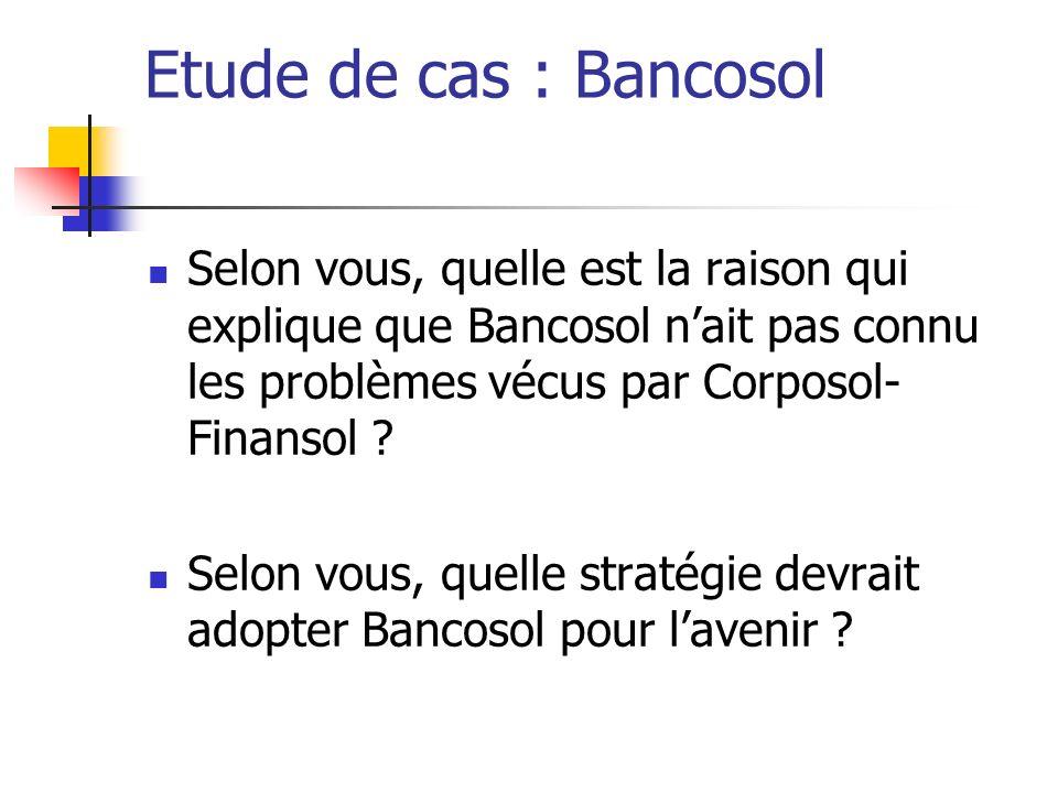 Etude de cas : Bancosol Selon vous, quelle est la raison qui explique que Bancosol n'ait pas connu les problèmes vécus par Corposol-Finansol