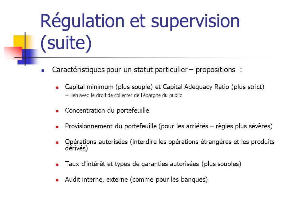 Régulation et supervision (suite)