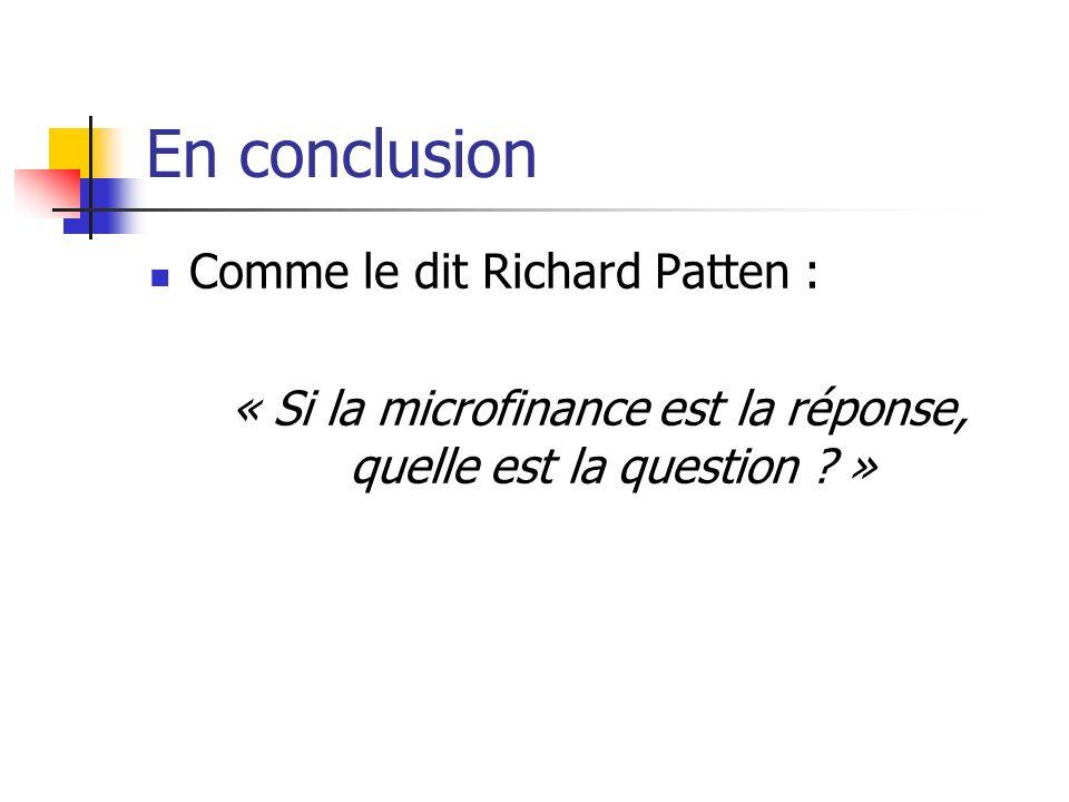 « Si la microfinance est la réponse, quelle est la question »