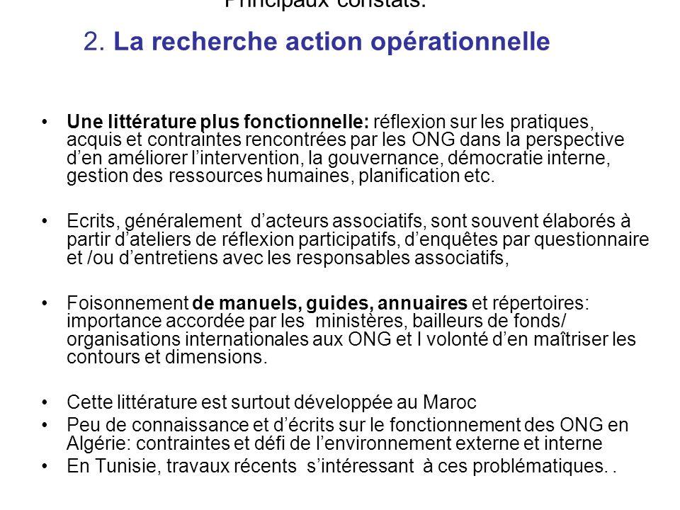 Principaux constats: 2. La recherche action opérationnelle
