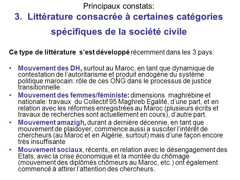 Principaux constats: 3. Littérature consacrée à certaines catégories spécifiques de la société civile