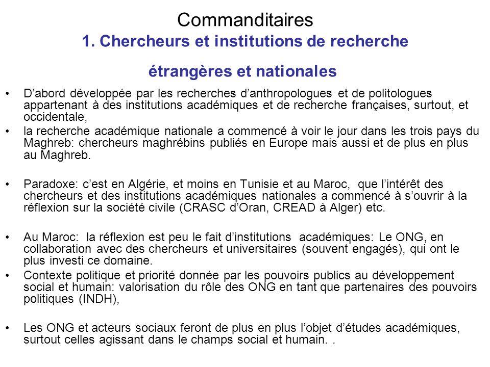Commanditaires 1. Chercheurs et institutions de recherche étrangères et nationales