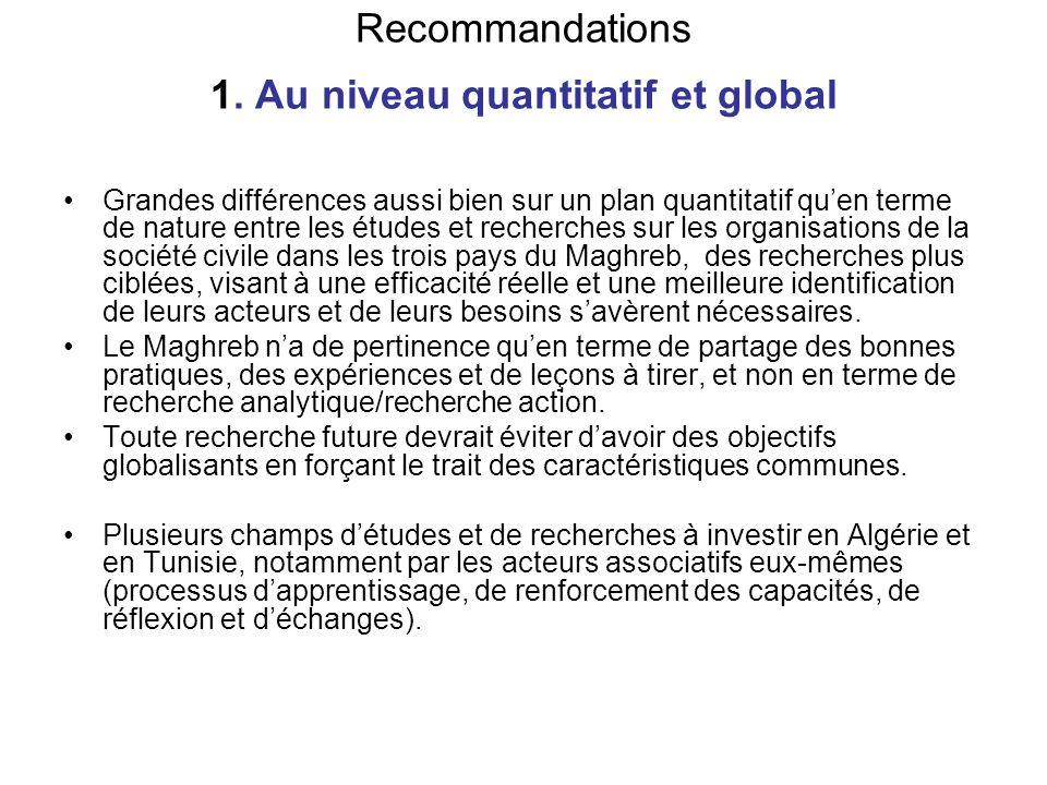 Recommandations 1. Au niveau quantitatif et global