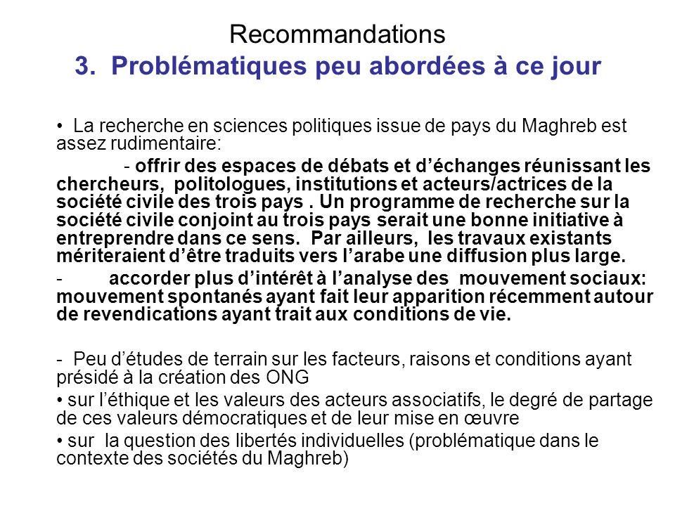 Recommandations 3. Problématiques peu abordées à ce jour