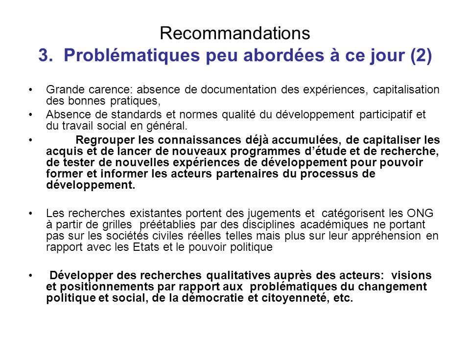 Recommandations 3. Problématiques peu abordées à ce jour (2)