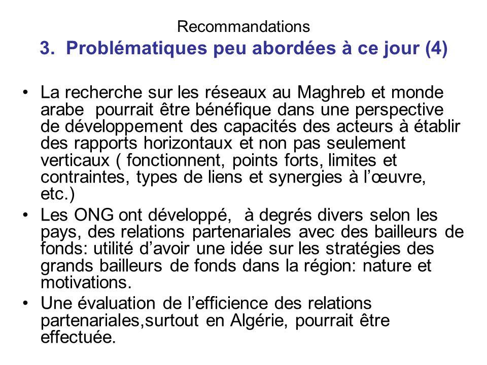 Recommandations 3. Problématiques peu abordées à ce jour (4)