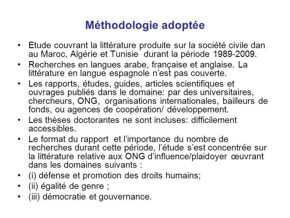 Méthodologie adoptée Etude couvrant la littérature produite sur la société civile dan au Maroc, Algérie et Tunisie durant la période 1989-2009.