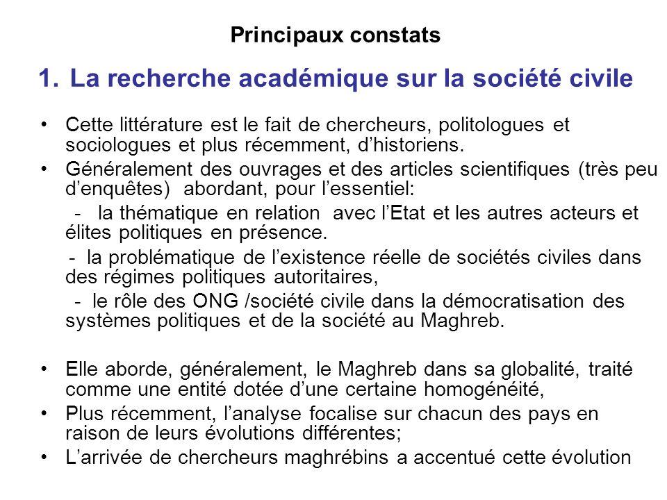 Principaux constats 1. La recherche académique sur la société civile