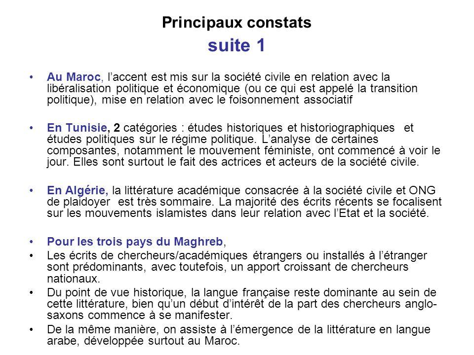 Principaux constats suite 1