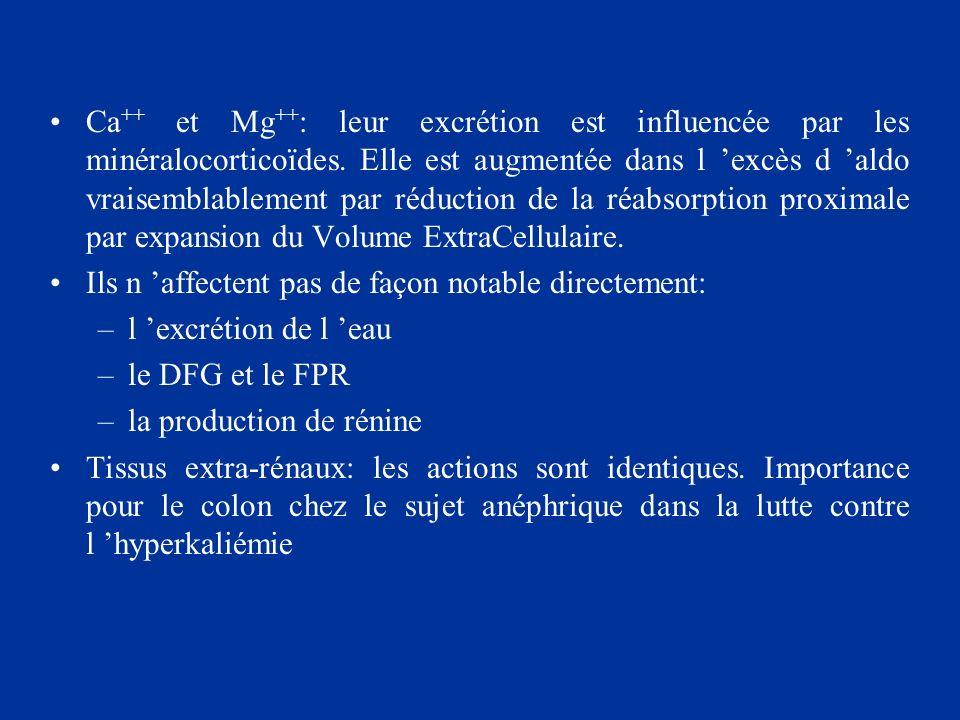 Ca++ et Mg++: leur excrétion est influencée par les minéralocorticoïdes. Elle est augmentée dans l 'excès d 'aldo vraisemblablement par réduction de la réabsorption proximale par expansion du Volume ExtraCellulaire.