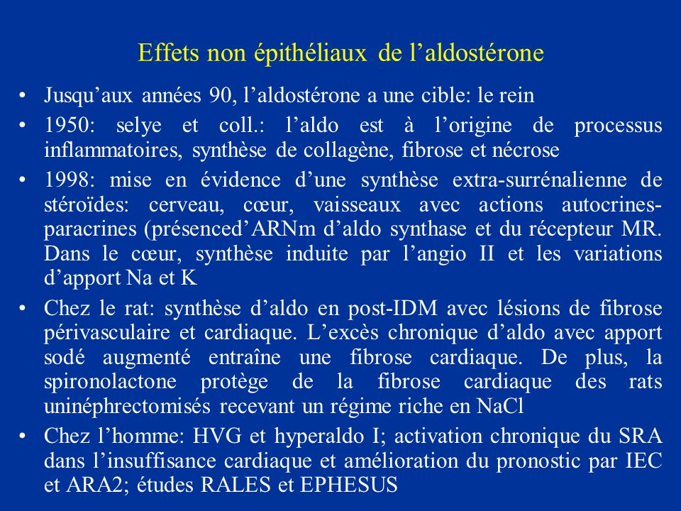 Effets non épithéliaux de l'aldostérone