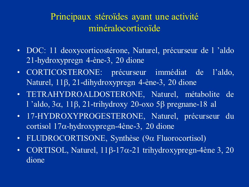 Principaux stéroïdes ayant une activité minéralocorticoïde