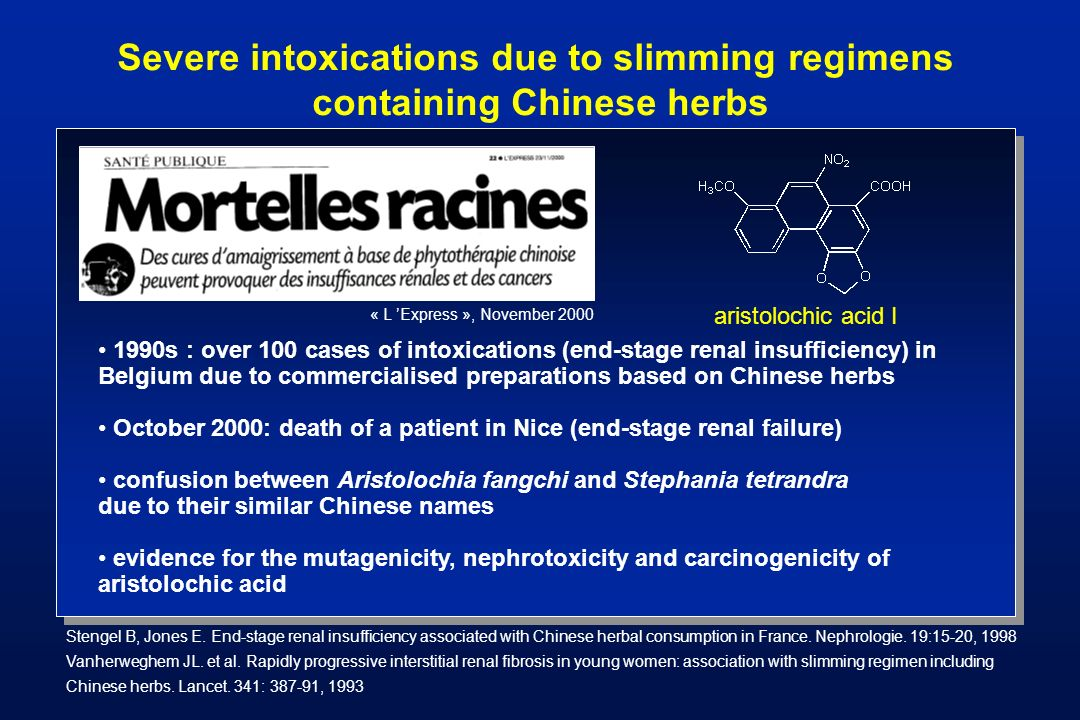 Severe intoxications due to slimming regimens containing Chinese herbs
