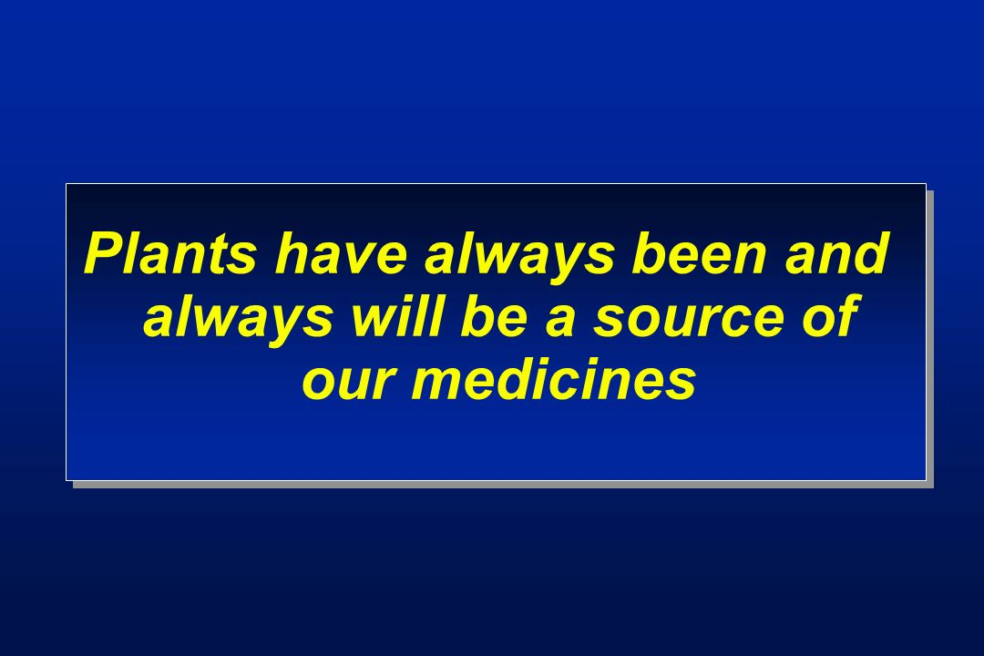 Plants have always been and always will be a source of our medicines