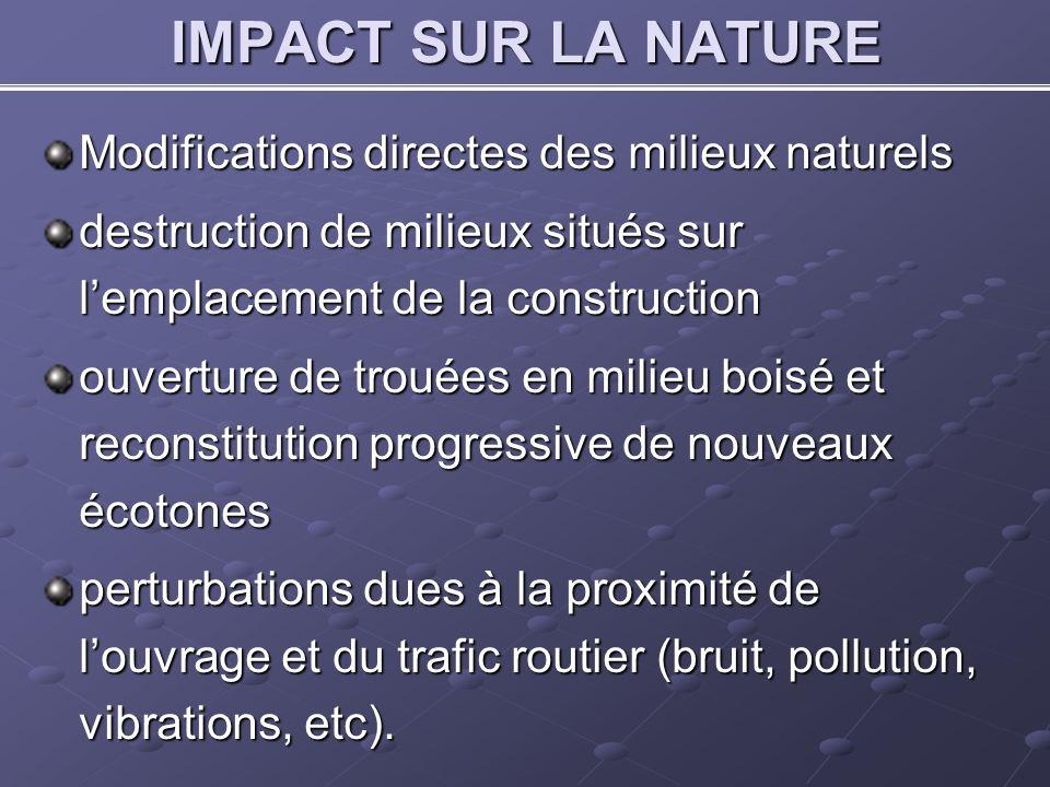 IMPACT SUR LA NATURE Modifications directes des milieux naturels