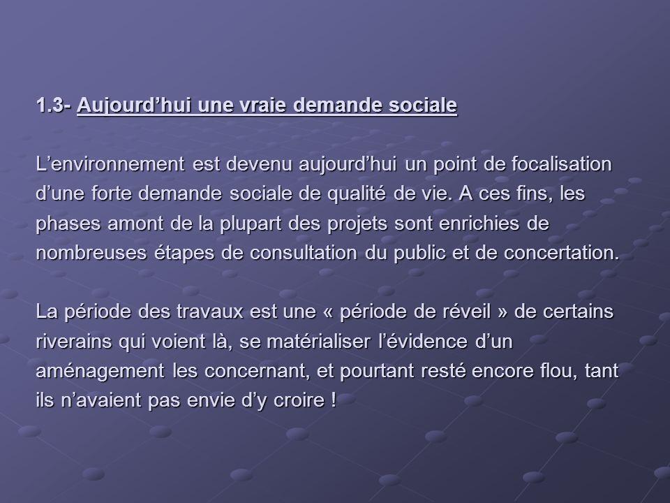 1.3- Aujourd'hui une vraie demande sociale L'environnement est devenu aujourd'hui un point de focalisation d'une forte demande sociale de qualité de vie.