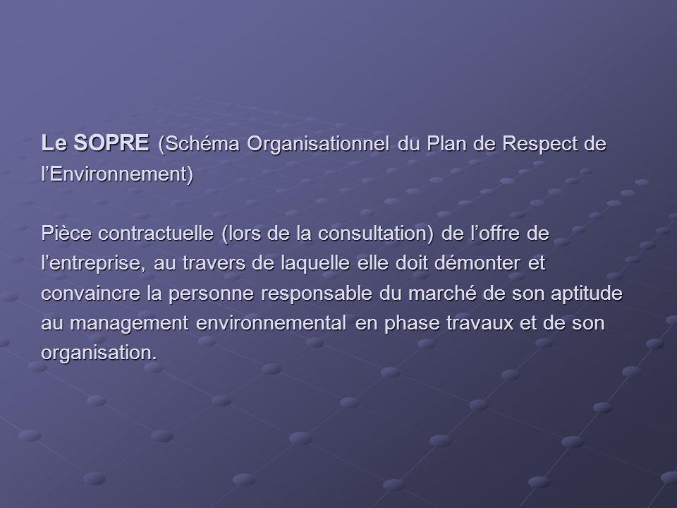 Le SOPRE (Schéma Organisationnel du Plan de Respect de l'Environnement) Pièce contractuelle (lors de la consultation) de l'offre de l'entreprise, au travers de laquelle elle doit démonter et convaincre la personne responsable du marché de son aptitude au management environnemental en phase travaux et de son organisation.