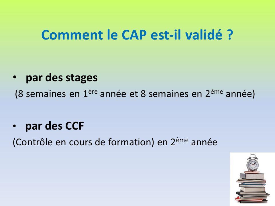 Comment le CAP est-il validé