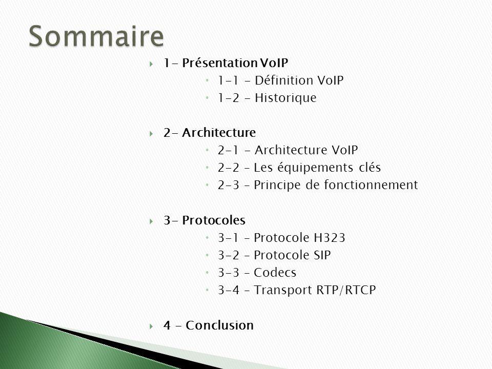 Sommaire 1- Présentation VoIP 1-1 - Définition VoIP 1-2 - Historique