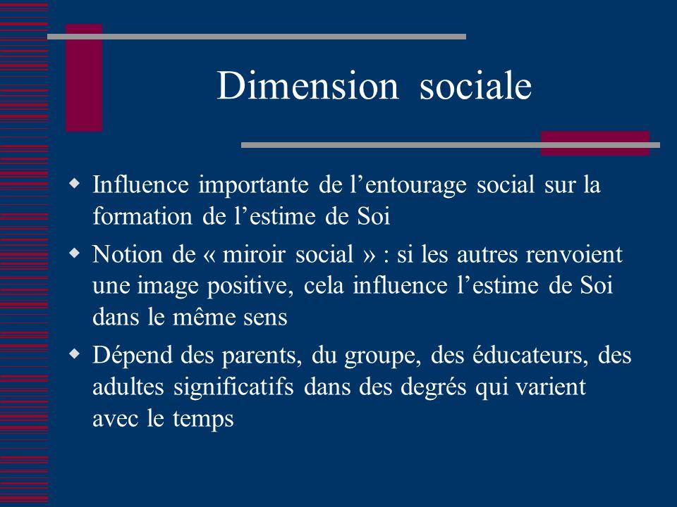 Dimension sociale Influence importante de l'entourage social sur la formation de l'estime de Soi.