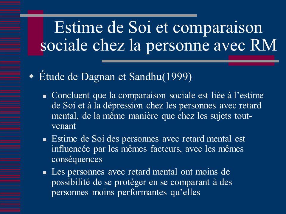 Estime de Soi et comparaison sociale chez la personne avec RM