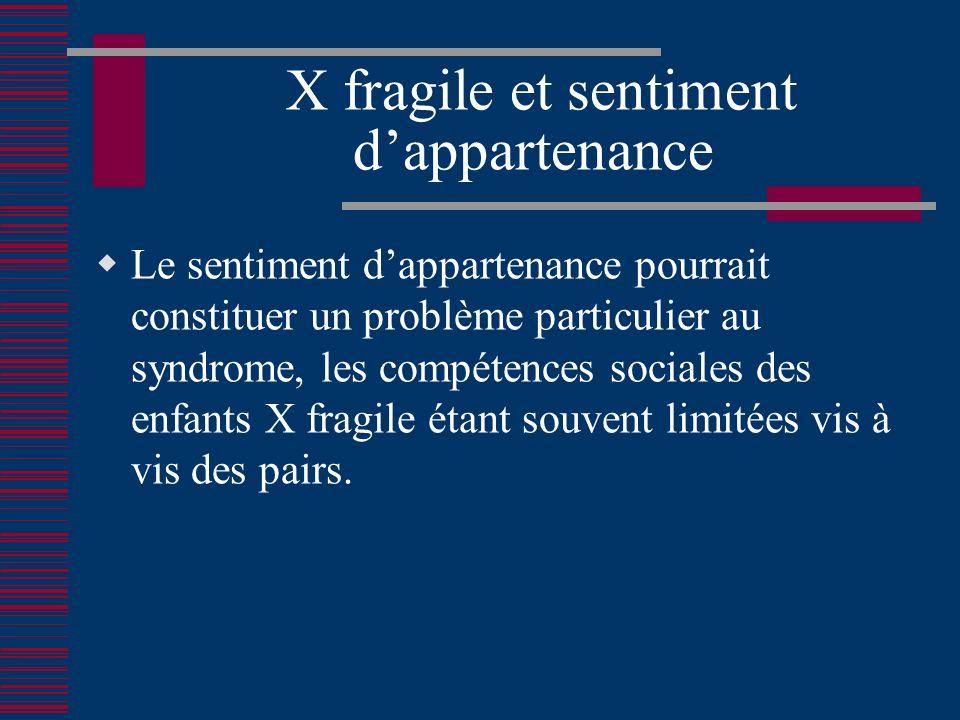 X fragile et sentiment d'appartenance