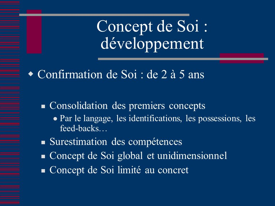 Concept de Soi : développement