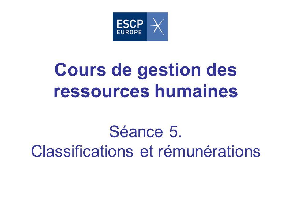 Cours de gestion des ressources humaines Séance 5