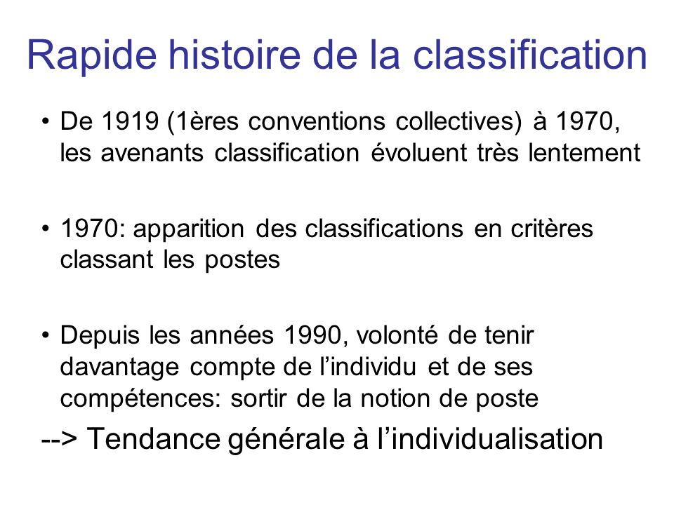Rapide histoire de la classification