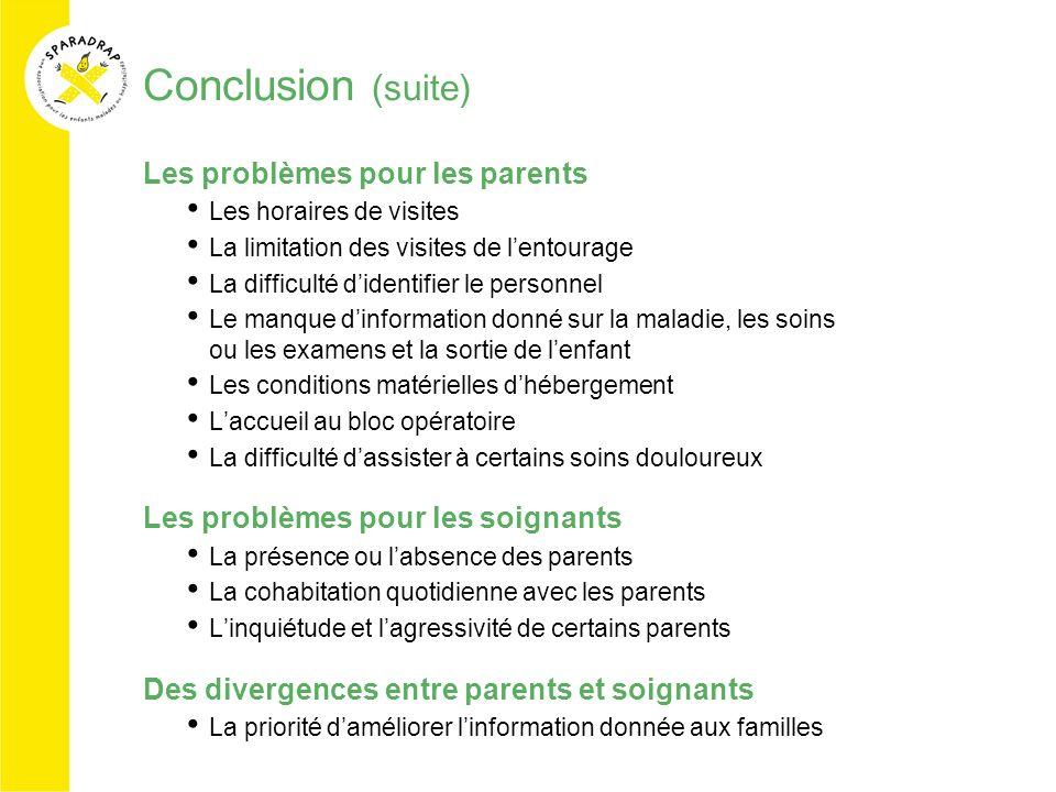 Conclusion (suite) Les problèmes pour les parents