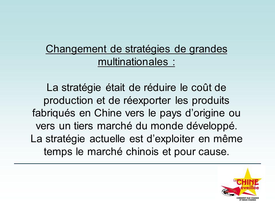 Changement de stratégies de grandes multinationales :