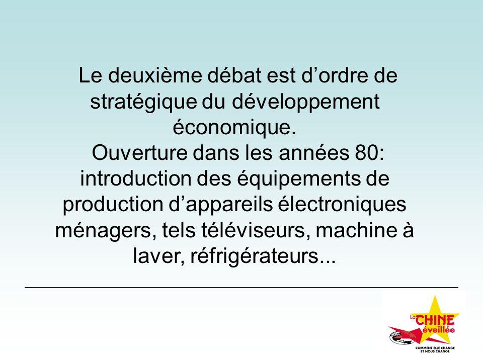Le deuxième débat est d'ordre de stratégique du développement économique.