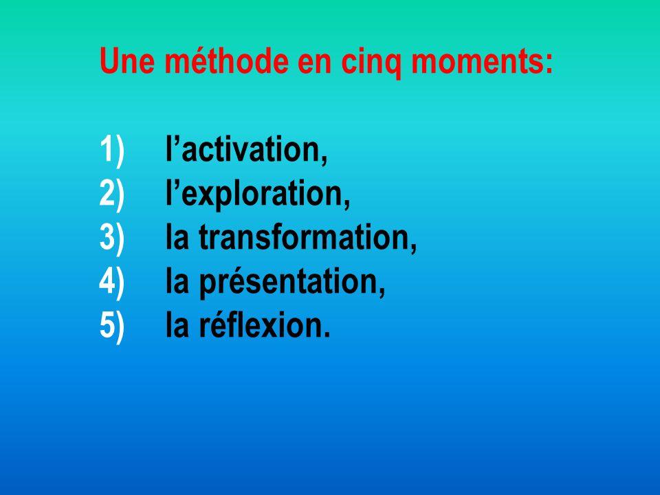 Une méthode en cinq moments: 1) l'activation, 2) l'exploration, 3) la transformation, 4) la présentation, 5) la réflexion.