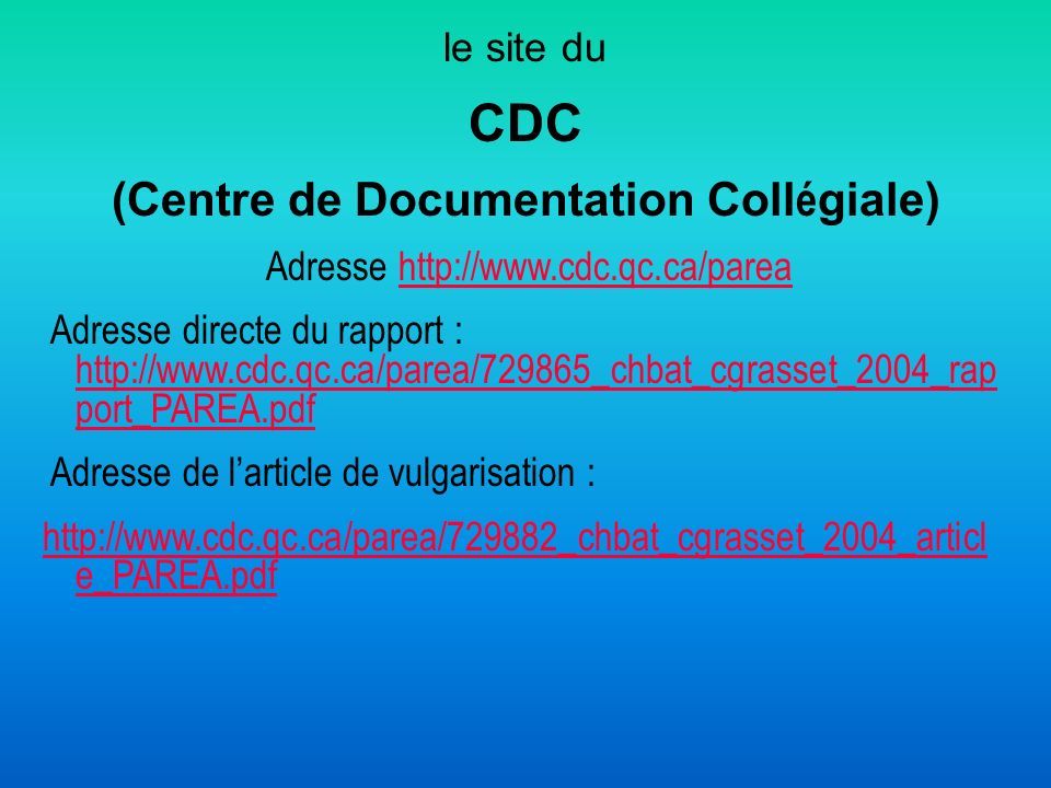 (Centre de Documentation Collégiale)