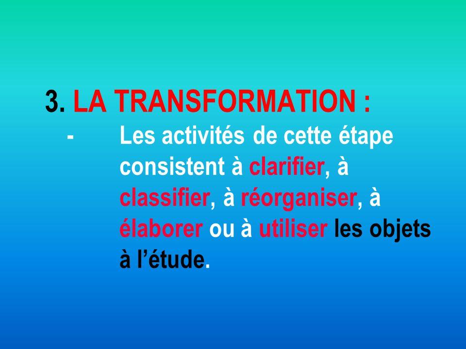 3. LA TRANSFORMATION : -. Les activités de cette étape